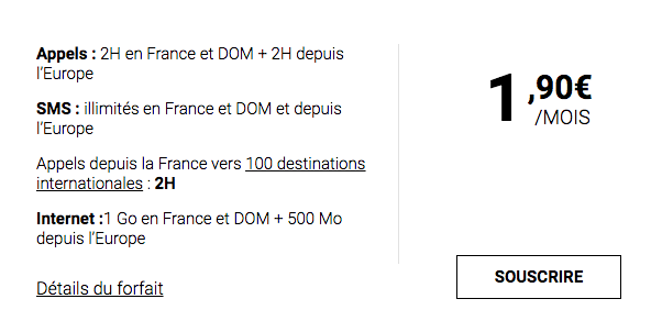 L'offre à moins de 2 euros de Syma Mobile.