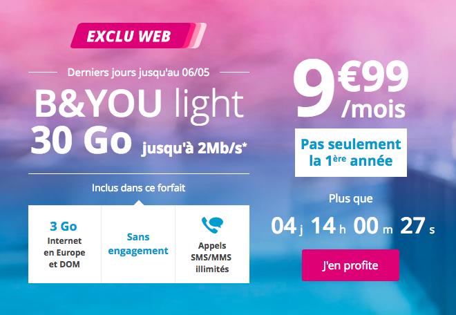 30 Go pour 9,99€ avec B&YOU.