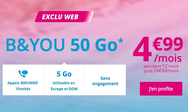 L'abonnement B&YOU 50 Go.