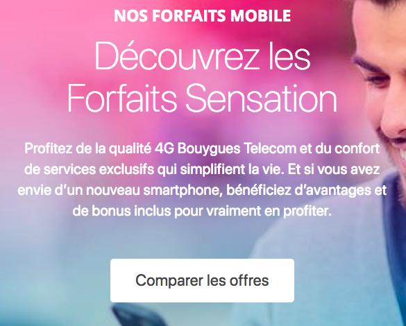 Les nouveaux forfaits Sensation de Bouygues Télécom.