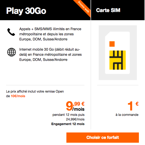 L'abonnement Play 30 Go Orange.