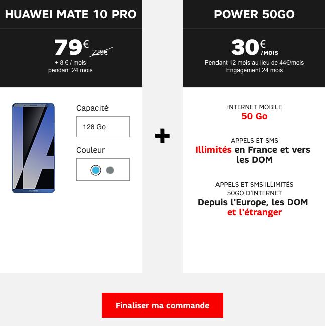Le Huawei Mate 10 Pro et le forfait SFR Power 50 Go.
