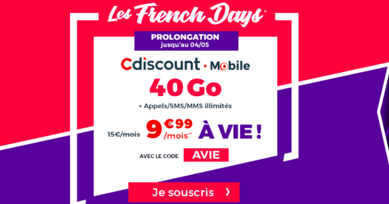 cdiscount mobile prolongation de l 39 offre 40 go 9 99. Black Bedroom Furniture Sets. Home Design Ideas