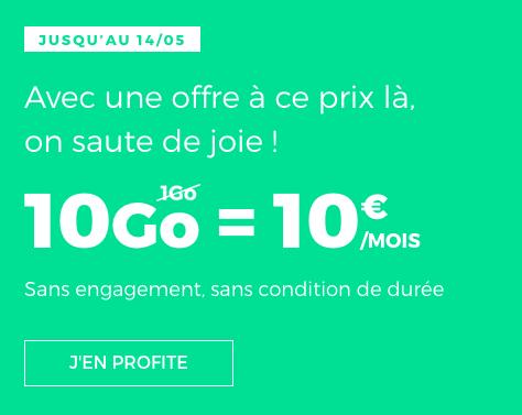 Le forfait en promotion chez RED by SFR à hauteur de 10€ par mois.