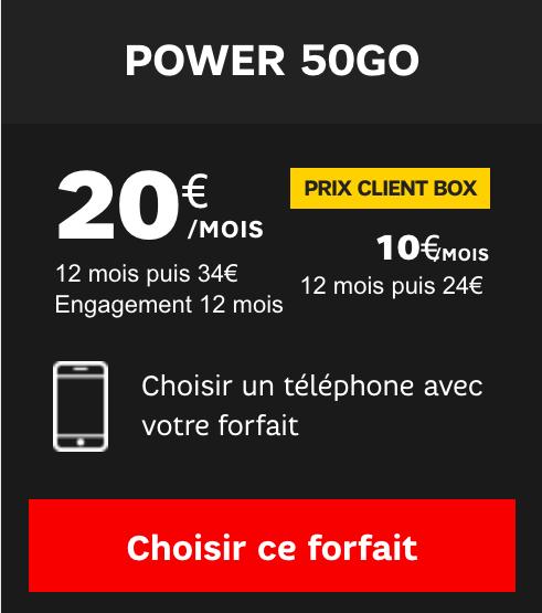 Le forfait Power 50 Go de SFR.
