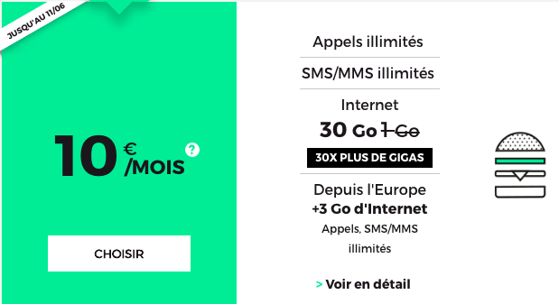 Le forfait RED 30 Go de RED by SFR.