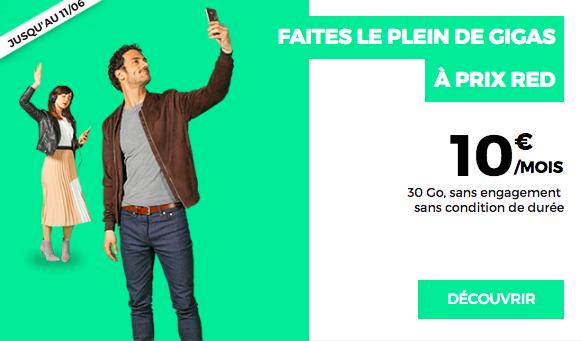 Le forfait 30 Go à 10€ de RED by SFR.