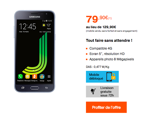 Le Galaxy J3 2016 en promotion chez Orange.