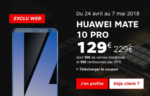 Le prix du Huawei mate 10 Pro avec SFR en promotion.