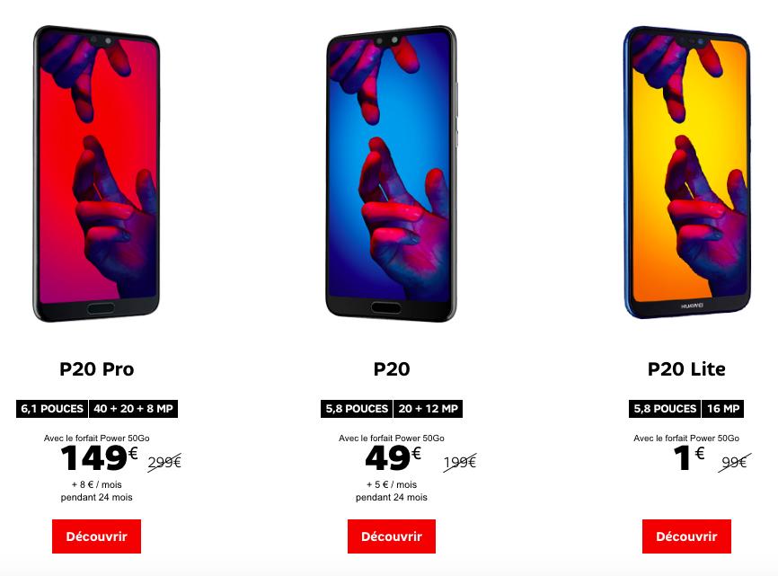 Les prix des P20 Huawei chez SFR.