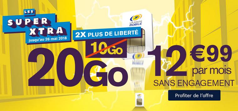 20 Go pour 12,99€/mois chez La Poste Mobile grâce à ce forfait mobile.