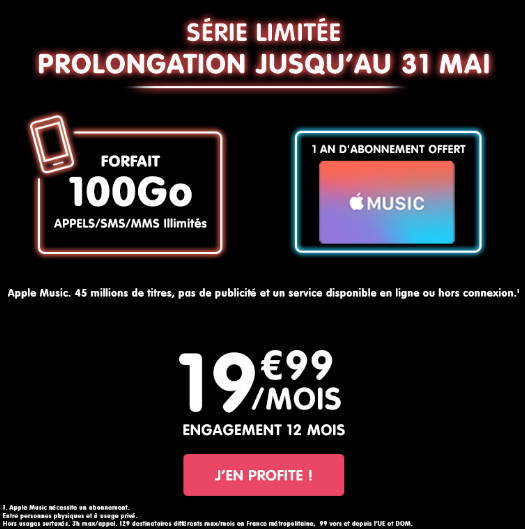 NRJ Mobile propose un forfait avec engagement permettant l'accès au service Apple Music durant une année.
