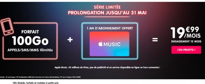 Le forfait mobile de NRJ Mobile en promotion.