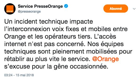 Les problèmes et les pannes Orange.