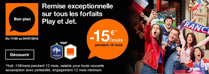 15€ de remise sur les forfaits Orange.