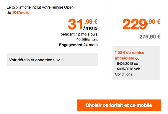 Le prix du Sony Xperia XZ2 avec Orange pour les clients Open