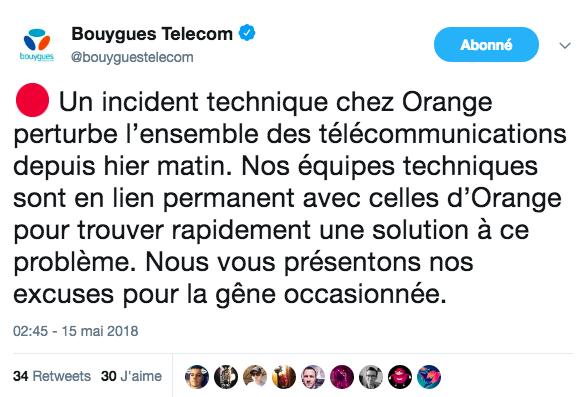 Les abonnés Orange ne peut pas appeler vers Bouygues Telecom, Free et SFR