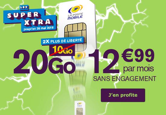 Le forfait 20 Go de La Poste Mobile.