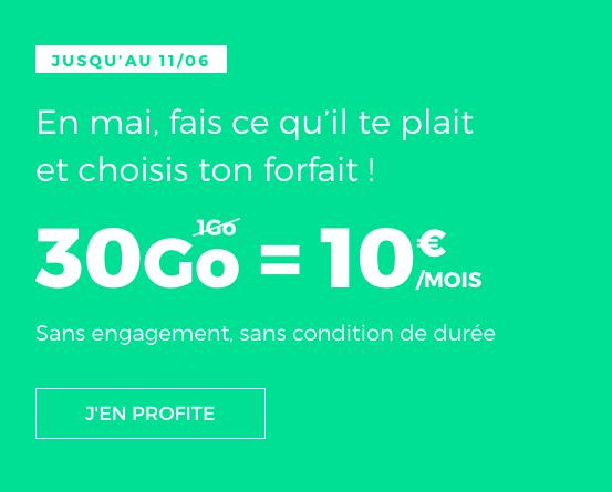 Le forfait mobile de RED by SFR possédant 30 Go d'Internet.