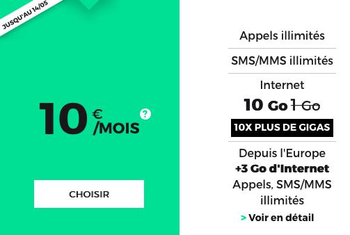Le forfait mobile de RED by SFR pour 10€/mois.