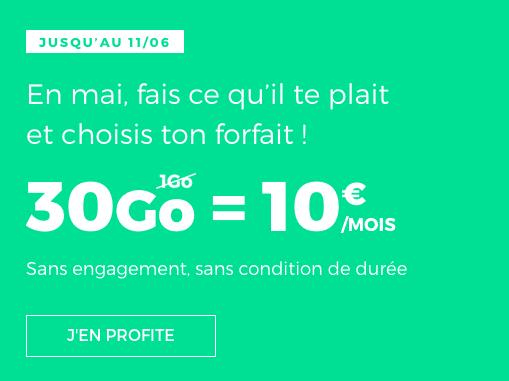 La promotion sur le forfait mobile de RED by SFR : 30 Go pour 10€/mois.