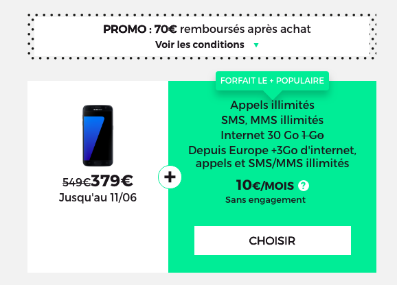 RED by SFR propose une promotion sur le Samsung Galaxy S7.