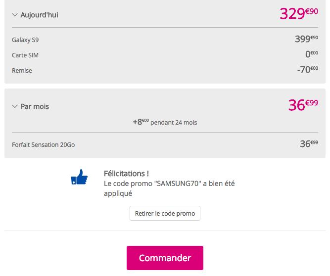 Le prix du Samsung Galaxy S9 avec Bouygues Telecom.