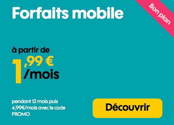 Sosh dispose d'une belle remise sur son forfait mobile initialement proposé pour 4,99€/mois.