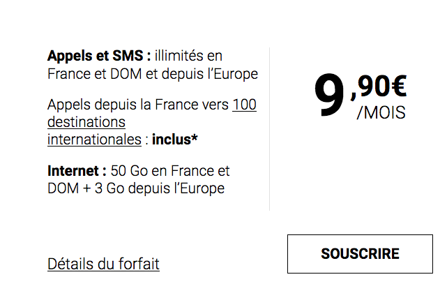 Syma Mobile propose l'un de ses forfaits mobiles au prix de 9,90€/mois.