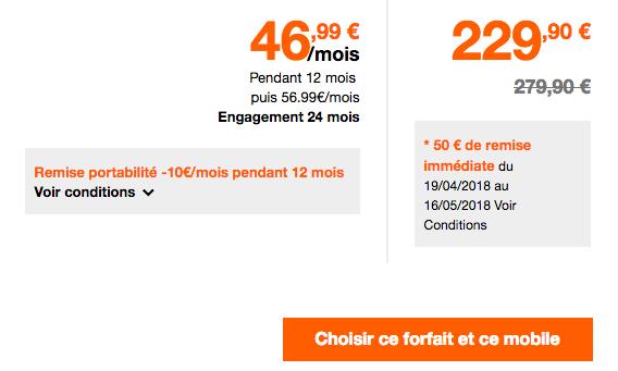 Combien coûte le Sony Xperia XZ2 avec les forfaits Orange ?