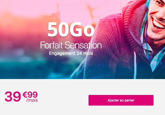 L'offre Sensation 50 Go de Bouygues Télécom.