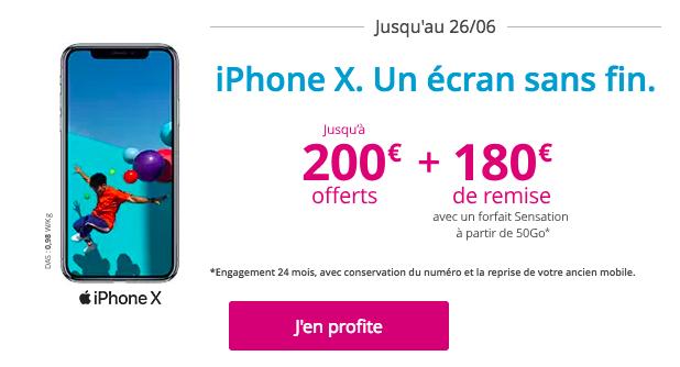 Bonus de reprise sur l'iPhone X.