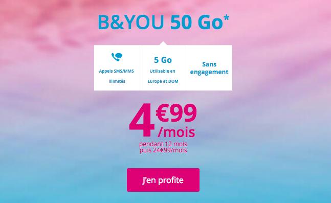 L'abonnement B&YOU 50 Go de Bouygues Télécom.