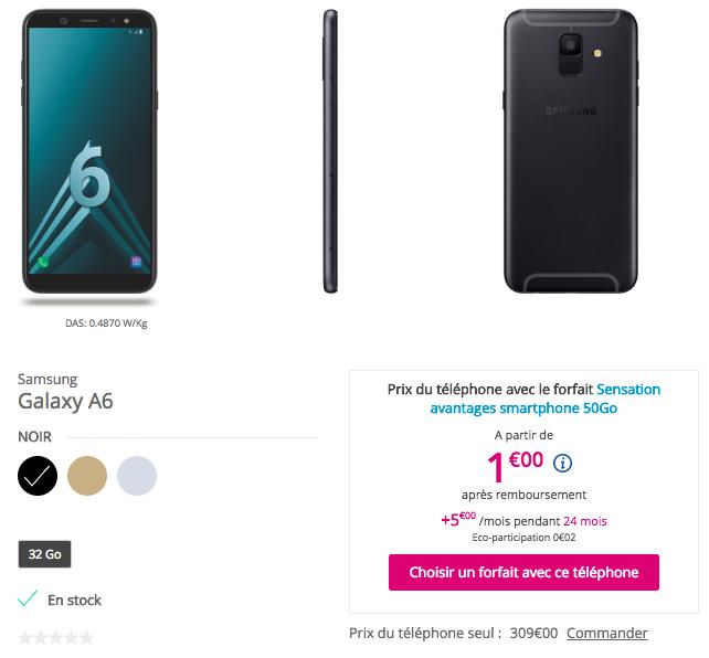 Les offres de Bouygues Télécom pour le Samsung Galaxy A6.