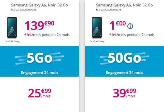 Le Samsung Galaxy A6 avec les offres Sensation.
