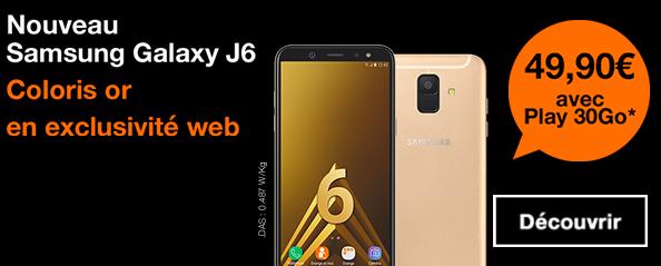 Le Samsung Galaxy A6 avec Orange.