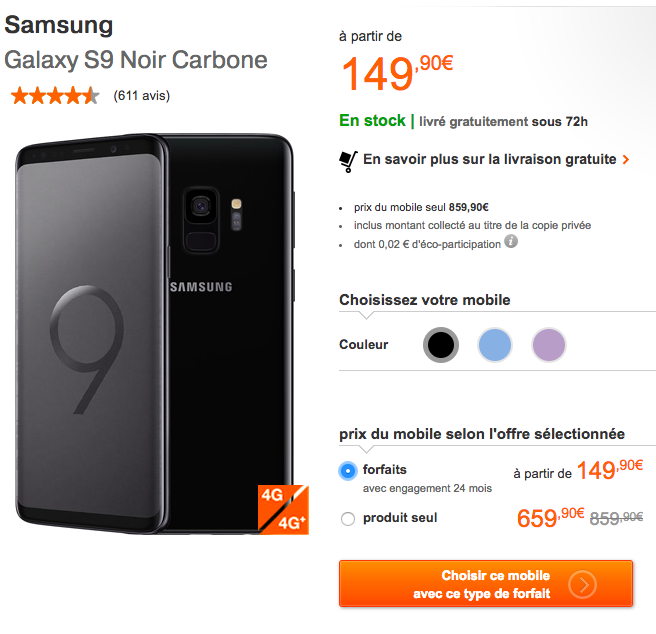 Le Galaxy S9 de Samsung avec Orange.