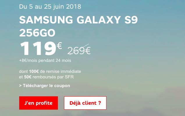 Le Galaxy S9 de Samsung avec SFR.