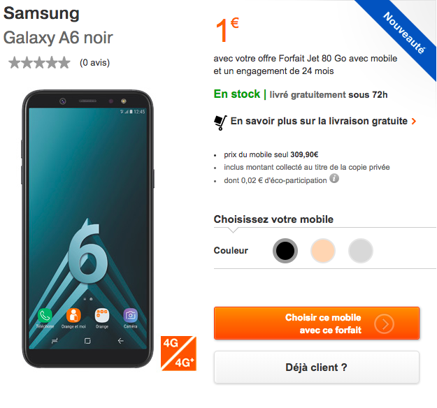 Le Samsung Galaxy A6 avec Orange.