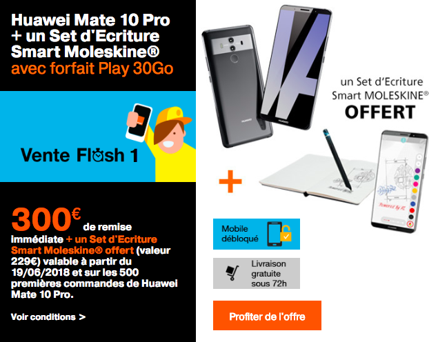 La vente flash Orange sur le Huawei Mate 10 Pro.