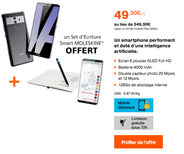 Le Huawei Mate 10 Pro dès 49,90€.