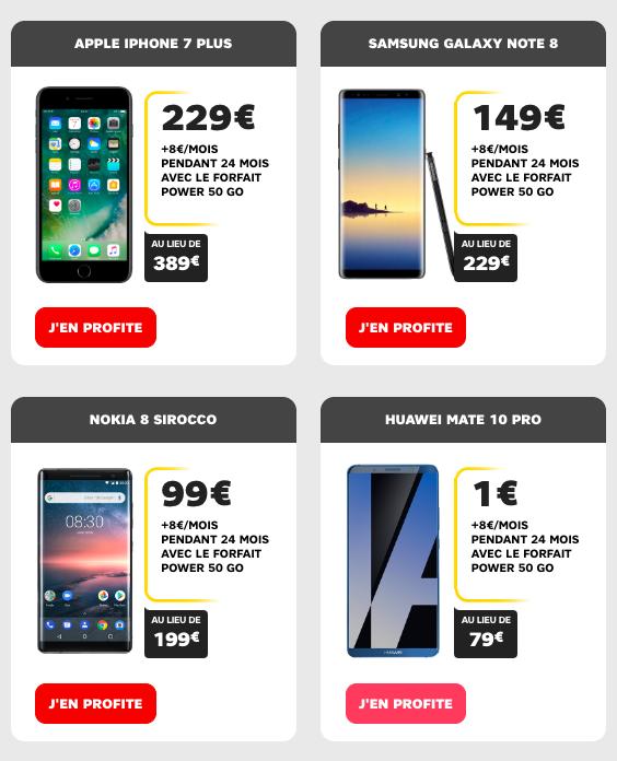 4 smartphones haut de gamme SFR.
