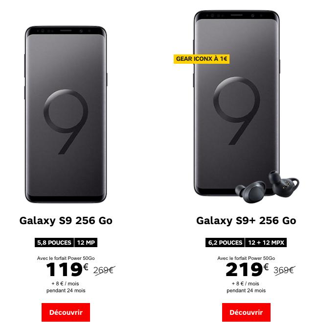 SFR et les Galaxy S9 et S9+.