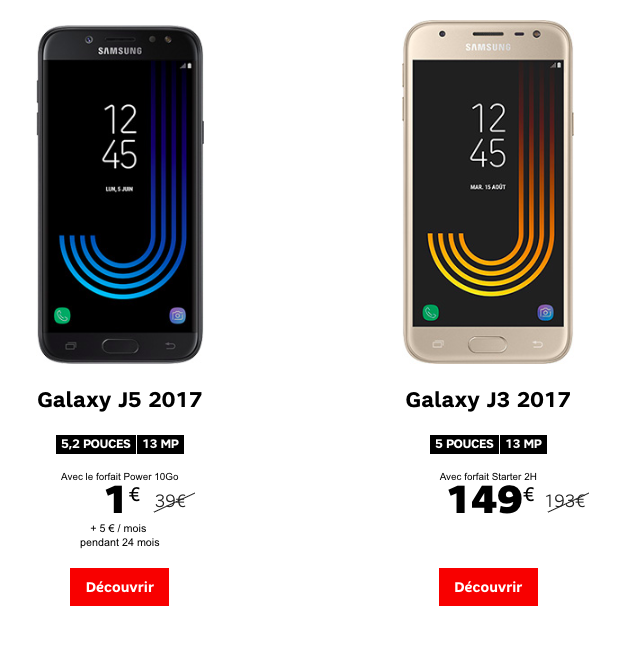 samsung promotions en pagaille chez sfr sur les galaxy j a et s. Black Bedroom Furniture Sets. Home Design Ideas