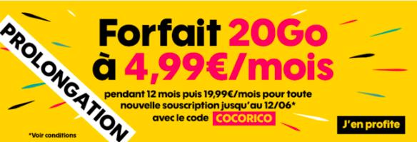 Le forfait 20 Go à 4,99€ de Sosh.