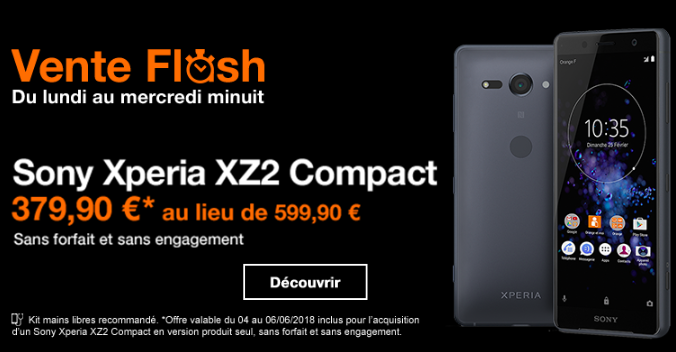 Le Sony Xperia XZ2 en vente flash avec Orange.