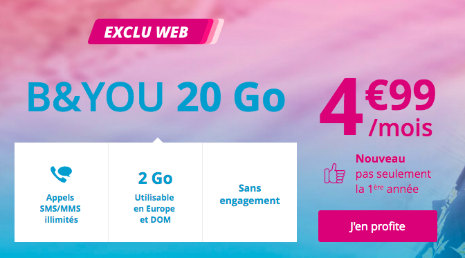 la promotion sur le forfait b and you à 4,99€