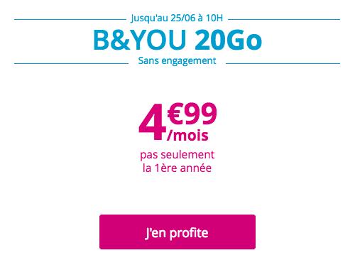 Le forfait B&YOU 20 Go en promotion.