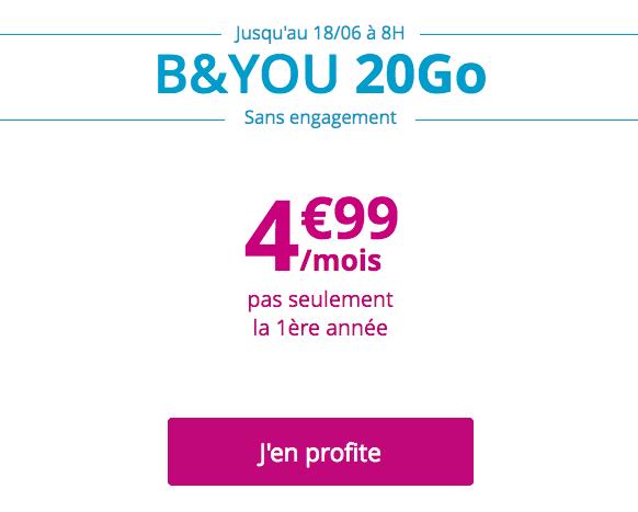 Le forfait mobile sans engagement de B&YOU, disponible à hauteur de 4,99€ par mois.