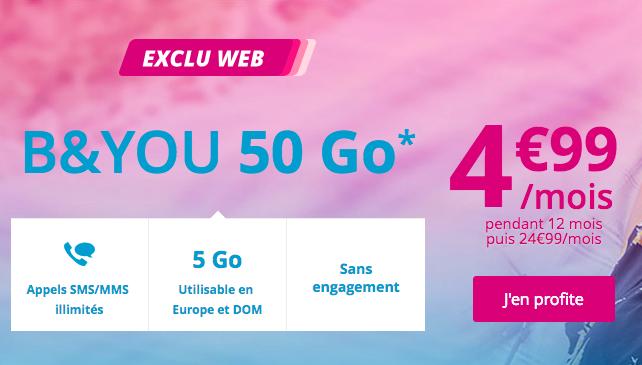 Bouygues Telecom propose un forfait en promotion.